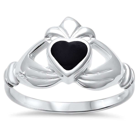 Wholesale Silver- Black Onyx Heart Irish Claddagh .925 Sterling Silver Ring Sizes 5-9