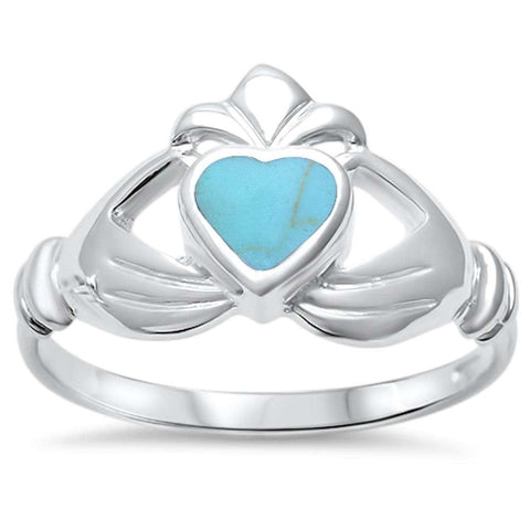 Wholesale Silver- Turquoise Heart Irish Claddagh .925 Sterling Silver Ring Sizes 5-9