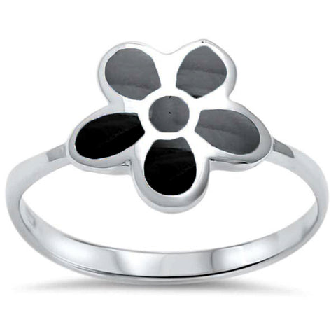 Black Onyx Flower .925 Sterling Silver Ring Sizes 5-10