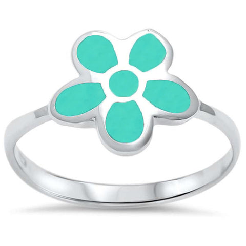 Turquoise Flower .925 Sterling Silver Ring Sizes 5-10