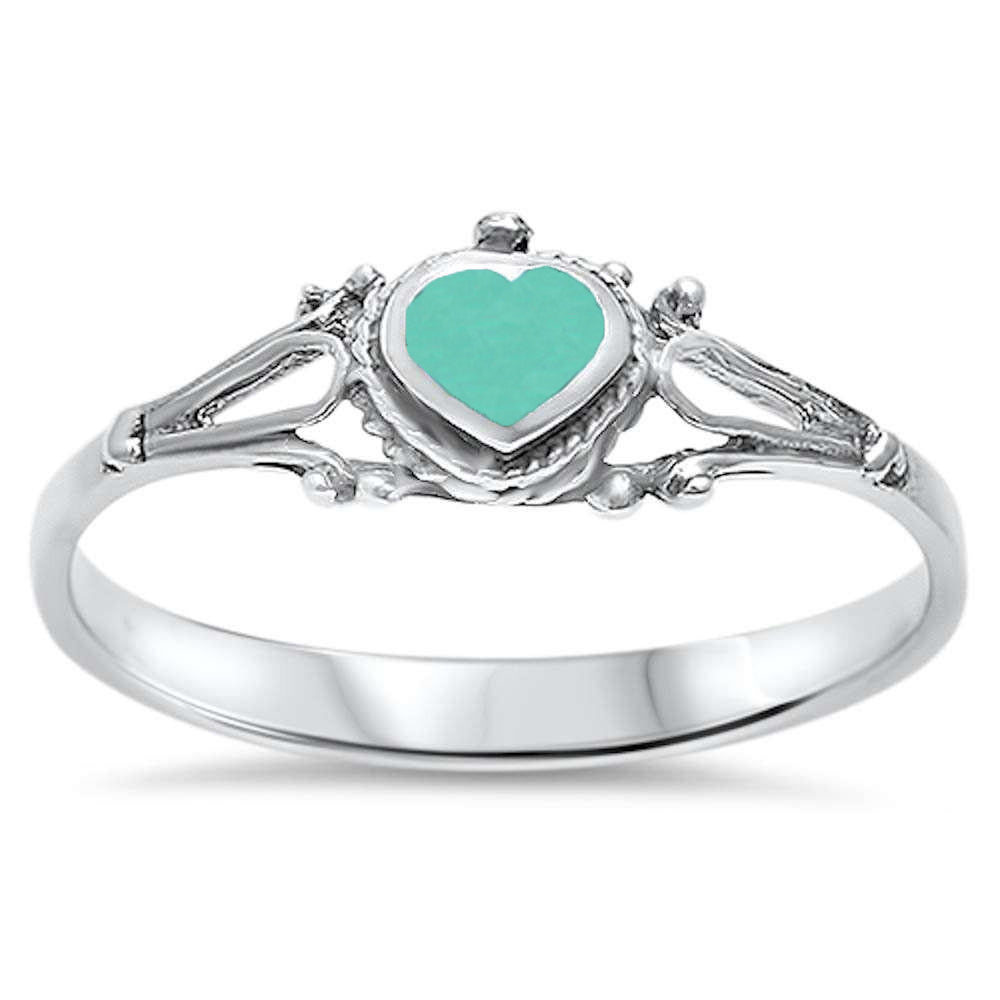 <span>CLOSEOUT!</span> Cute! Celtic Turquoise Heart .925 Sterling Silver Ring Sizes 5-10