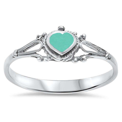 Cute! Celtic Turquoise Heart .925 Sterling Silver Ring Sizes 5-10