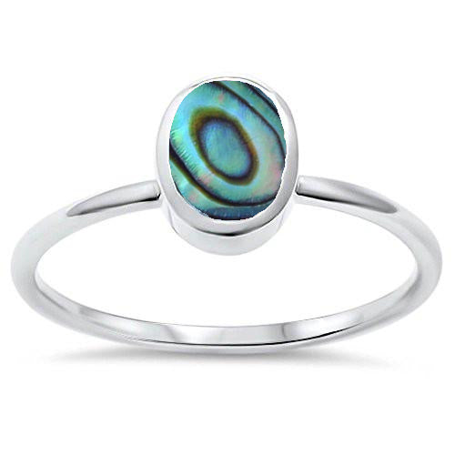 Abalone Shell Ring Silver Oval Abalone Shell Ring Adjustable Abalone Ring