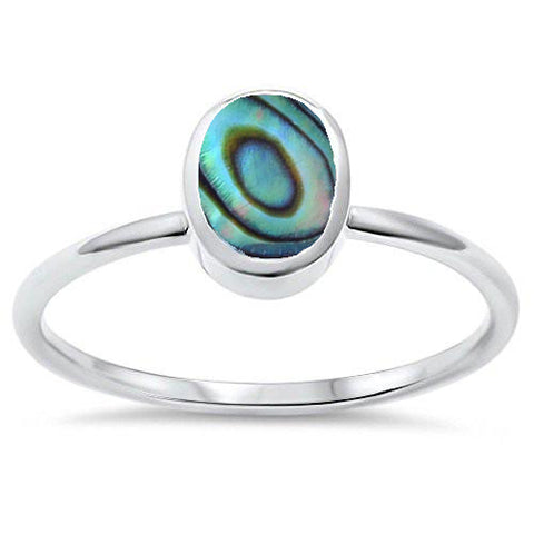 Oval Abalone Shell .925 Sterling Silver Ring Sizes 5-10