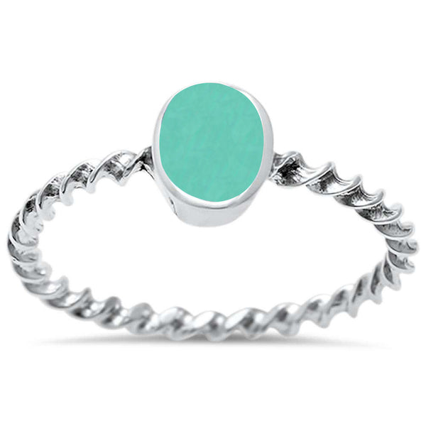 <span>CLOSEOUT!</span>Oval Turquoise Twisted Band .925 Sterling Silver Ring Sizes 5-10