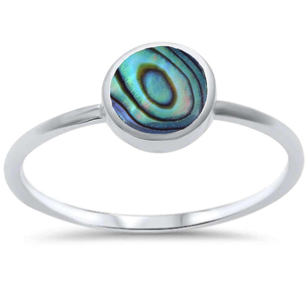 Bezel Abalone Shell .925 Sterling Silver Ring Sizes 5-10