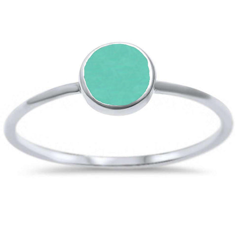 Round Turquoise .925 Sterling Silver Ring Sizes 4-11