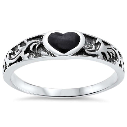 Wholesale Silver- Black Onyx Heart .925 Sterling Silver Ring Sizes 5-9