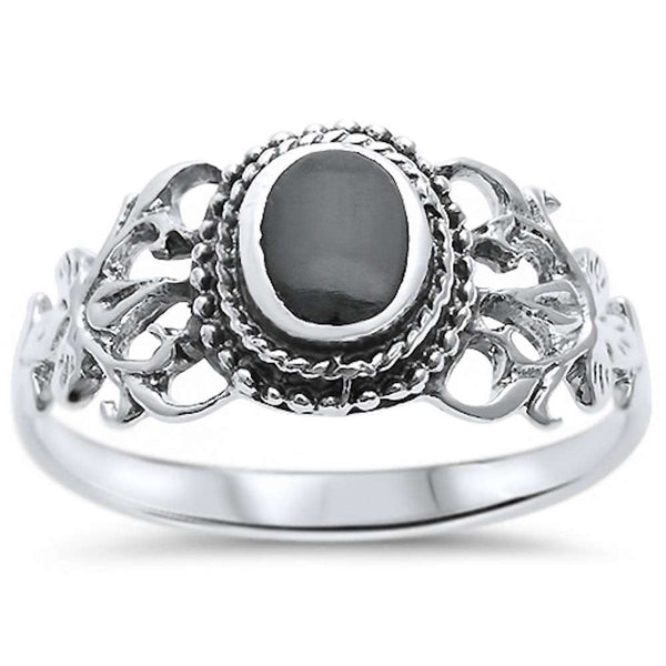 Oval Black Onyx Victorian Filigree .925 Sterling Silver Ring Sizes 5-10