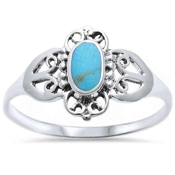 New Fashion Turquoise Design  .925 Sterling Silver Ring Sizes 5-10