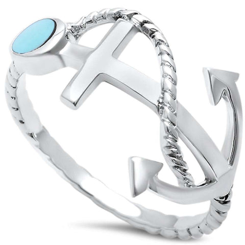 Wholesale Silver- Turquoise Anchor .925 Sterling Silver Ring Sizes 5-9