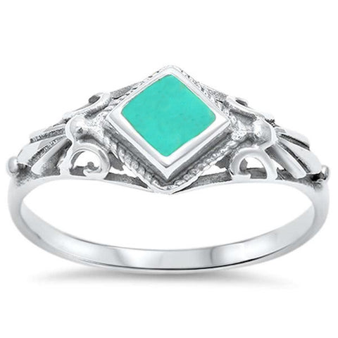 Turquoise  .925 Sterling Silver Ring Sizes 5-10