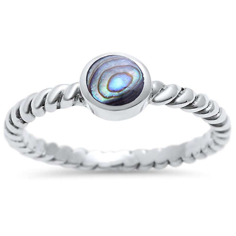 Bezel Abalone Shell .925 Sterling Silver Braided Ring Sizes 4-10