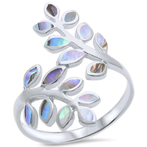 Abalone Friendship Olive Branch Tree Leaf .925 Sterling Silver Ring Sizes 5-11