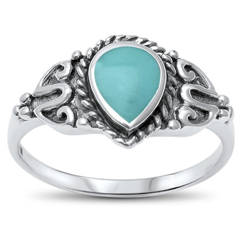 Turquoise Tear Drop Filigree .925 Sterling Silver Ring Sizes 5-10