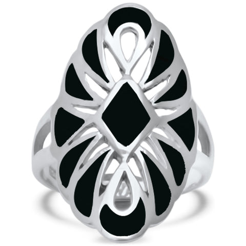 Black Onyx Filigree Design .925 Sterling Silver Ring Sizes 5-10