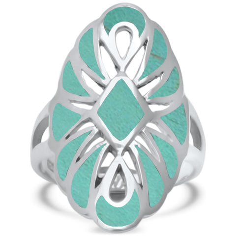 Turquoise Filigree Design .925 Sterling Silver Ring Sizes 5-10
