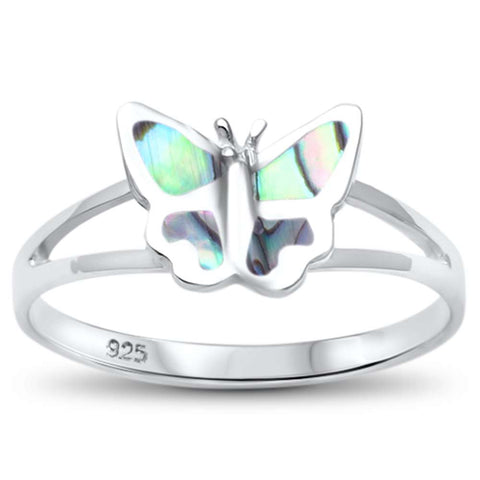 Simple Abalone Butterfly .925 Sterling Silver Ring Sizes 5-10