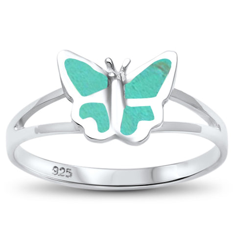 Simple Turquoise Butterfly .925 Sterling Silver Ring Sizes 5-10