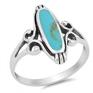 Long Oval Turquoise  .925 Sterling Silver Ring Sizes 5-12