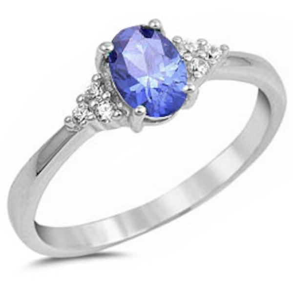 Oval Tanzanite & Cz Beautiful Fashion .925 Sterling Silver Ring Sizes 5-11