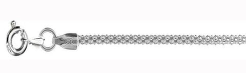 2.5MM Popcorn Chain Made in Italy .925 Sterling Silver Sizes 16-20""