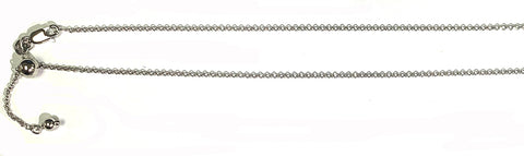 016-1.4MM Rhodium Plated Adjustable Rolo Chain .925  Solid Sterling Silver Sizes 22""