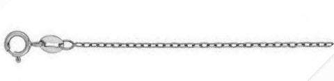 030-1.2MM Rhodium Cable Chain .925 Solid Sterling Silver Sizes 16-26""