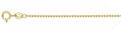 "030-1.2MM Yellow Gold Plated Cable Chain .925  Solid Sterling Silver Available in 16""- 22"" inches"