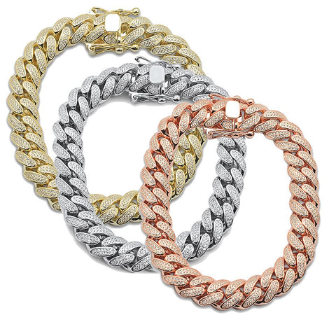 Hip Hop Bling Iced 12MM Micro Pave Cuban Link  .925 Sterling Silver Bracelet 9""