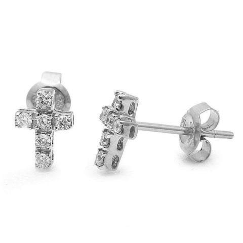 .15ct Round Diamond Cross Stud Earrings 14kt White Gold