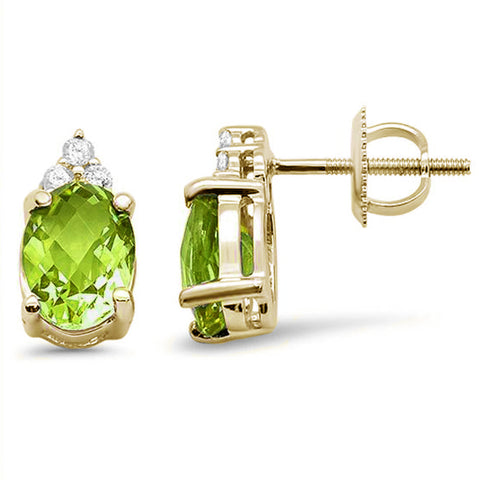 2.79ct 10K Yellow Gold Peridot Gemstone & Diamond Earrings