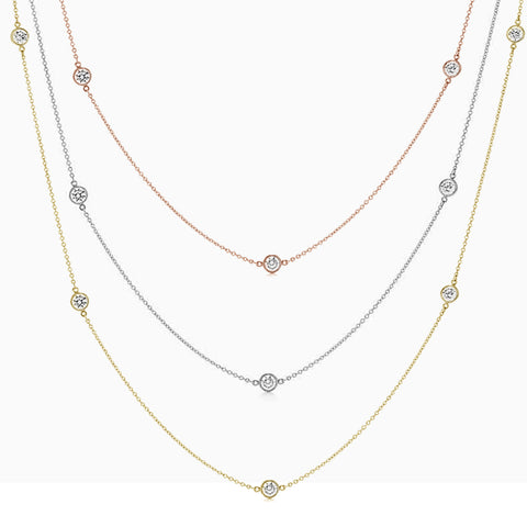 """Diamond by the Yard"" Necklace 14kt White gold Available in Sizes 16""-24"" Three Metal Colors"