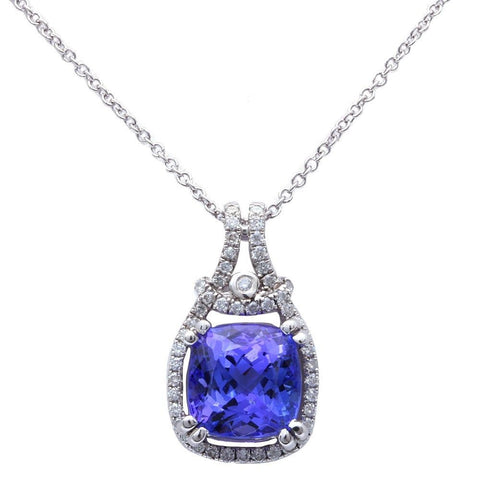 3.17ct Genuine Tanzanite Diamond Halo Style Solitaire Pendant