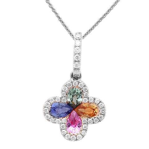 <span>GEMSTONE CLOSEOUT! </span>  .87ct Multi-Gemstone Flower Diamond Pendant 14kt White Gold