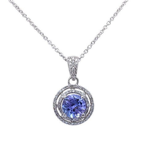 "1.49ct Genuine Tanzanite & F SI Diamond Halo Style Solitaire Pendant 16"" Long"