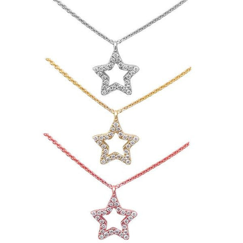 .05ct Star Cut out Modern Diamond Pendant 14kt White, Yellow or Rose Gold 17""