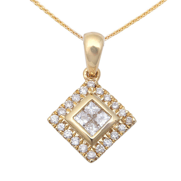 .19ct Diamond Princess Drop Dangle Solitaire 14kt Yellow Gold Pendant w/ Chain