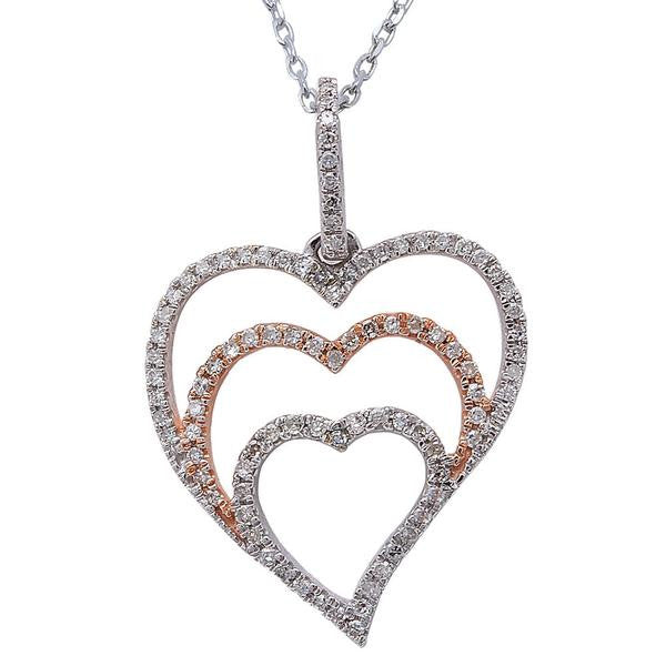 ".25ct F SI Round Diamond Pave Set Heart Pendant 14kt yellow & White Gold 18"" Long"