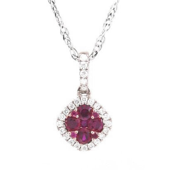 ".51ct Pave Set Genuine Red Ruby & Natural Diamond Pendant Necklace 18"" Chain"