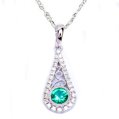 <span>GEMSTONE CLOSEOUT! </span> .42ct Antique Filigree Green Emerald & Diamond 14kt White gold Pendant w/ chain