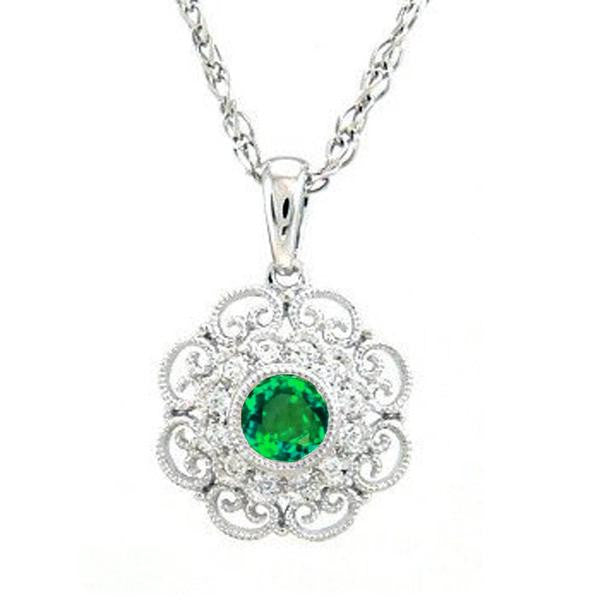 "<span>GEMSTONE CLOSEOUT! </span> .40ct Green Emerald & Diamond Antique Filigree Pendant Necklace 18"" Chain"