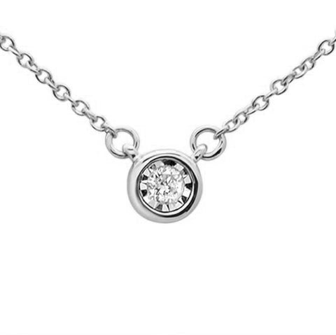 .04ct 14KT White Gold Round Diamond Solitaire Pendant Necklace 18""