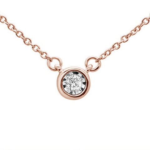 .04ct 14KT Rose Gold Round Diamond Solitaire Pendant Necklace 18""