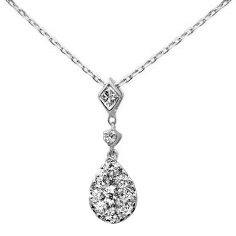 ".40ct 14k White Gold Diamond Pear Shaped Drop Pendant Necklace 16""+Ext"