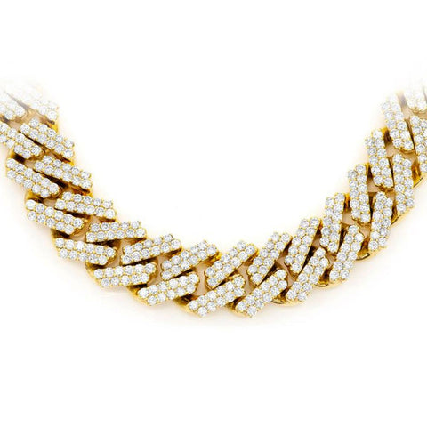 "<span style=""color:purple"">SPECIAL!</span> 13MM 25.39ct 14KT Yellow Gold Diamond Micro Pave Miami Flat Cuban Link Necklace 22"""