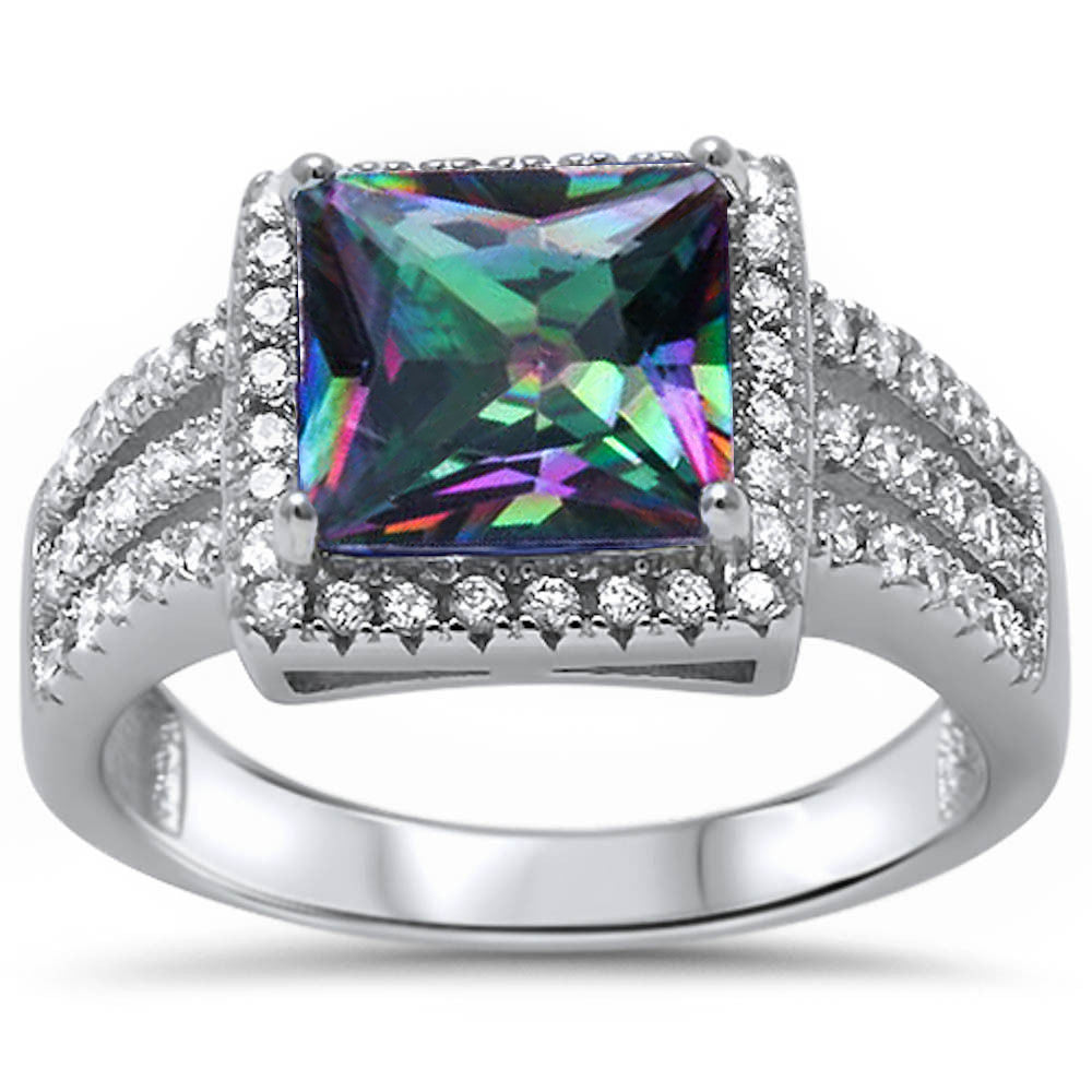 <span>CLOSEOUT!</span> 5.50ct Princess Cut Rainbow Topaz & Cz .925 Sterling Silver Ring Sizes 5-11