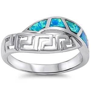 Blue Opal NEW Design .925 Sterling Silver Ring Sizes 5-10