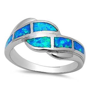 <span>CLOSEOUT!</span> Blue Opal Fashion .925 Sterling Silver Ring Sizes 5-10
