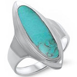 Marquise Turquoise Inlay .925 Sterling Silver Ring Sizes 5-12